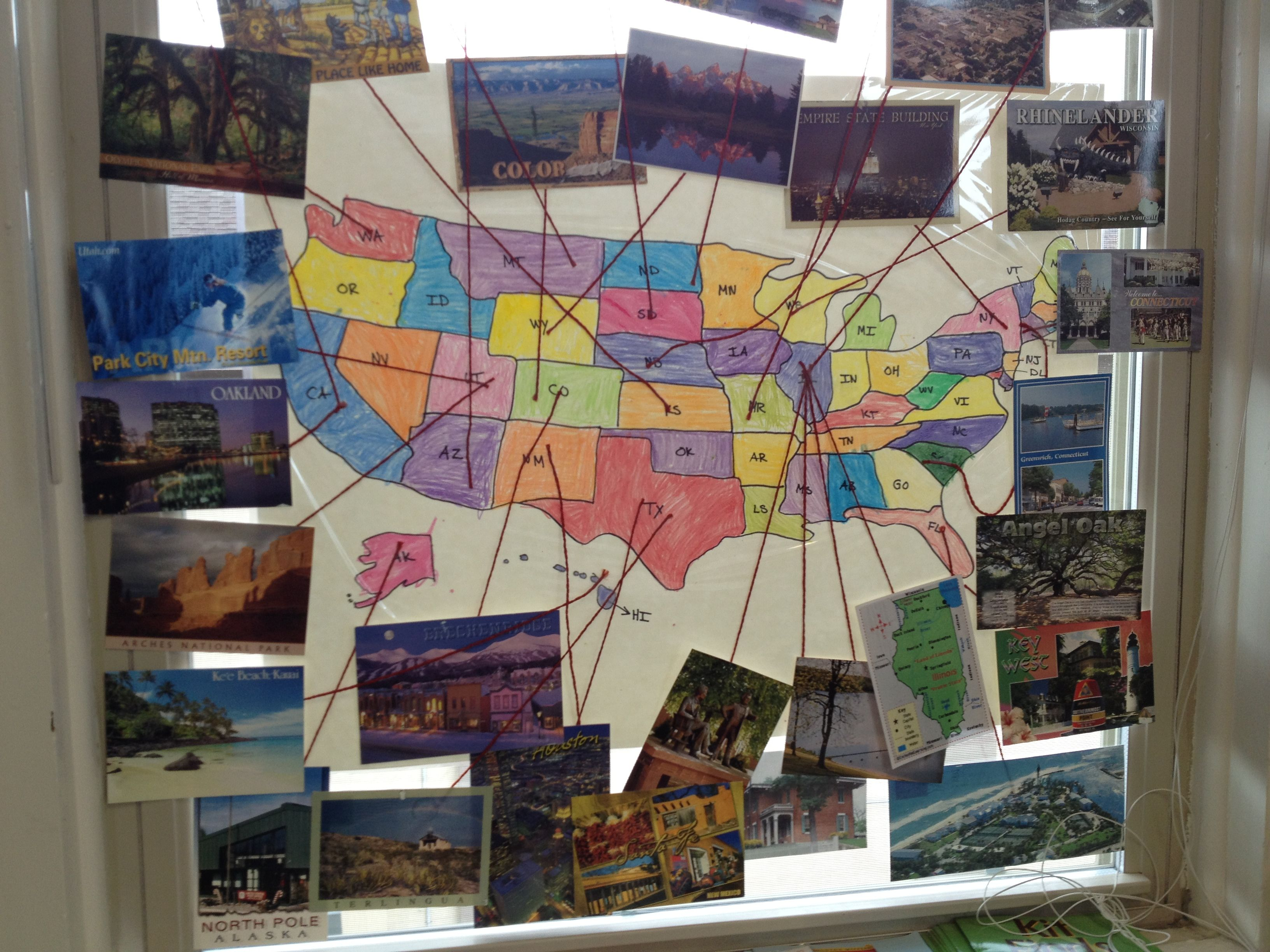 Use a US and world map to attach post cards and learn about