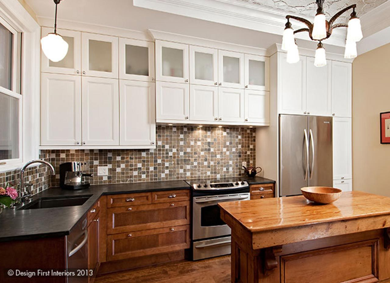 If You Want Harmony Within Your Kitchen Use A Backsplash Color Or Pattern As Your Basel Two Tone Kitchen Cabinets Kitchen Cabinet Design Cheap Kitchen Cabinets