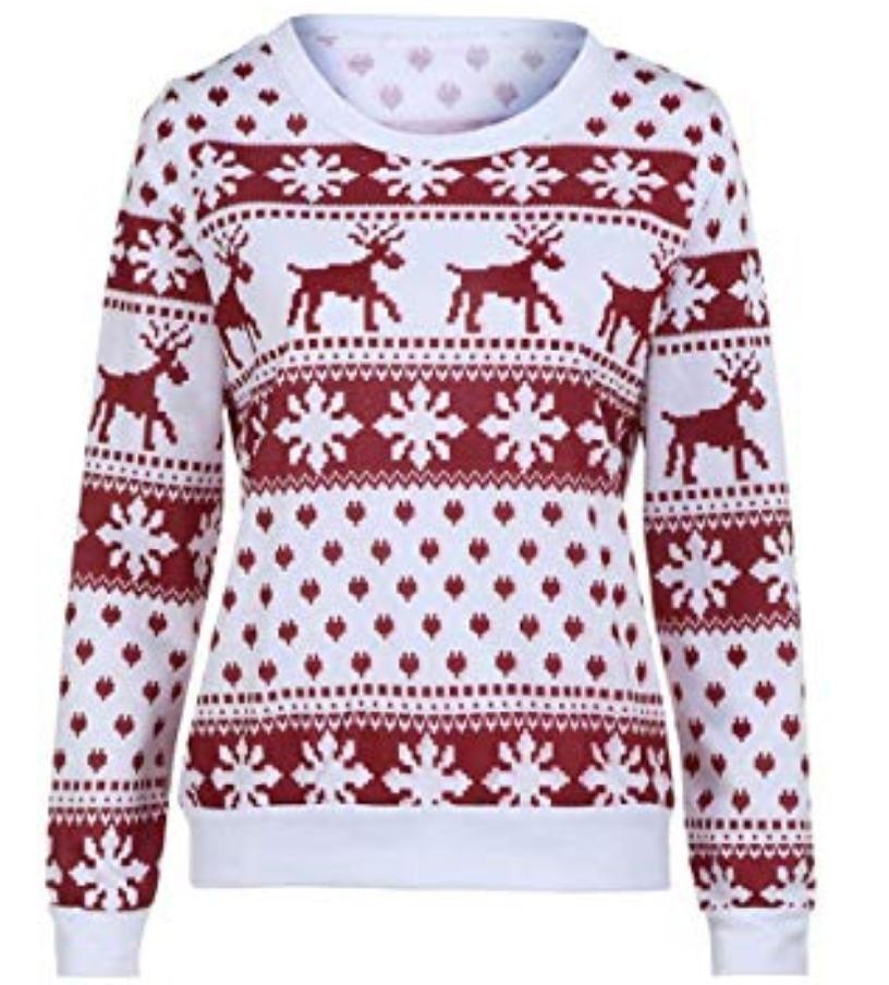 Details about Christmas Women\u0027s Long Sleeve Elk Snowflake Sweater