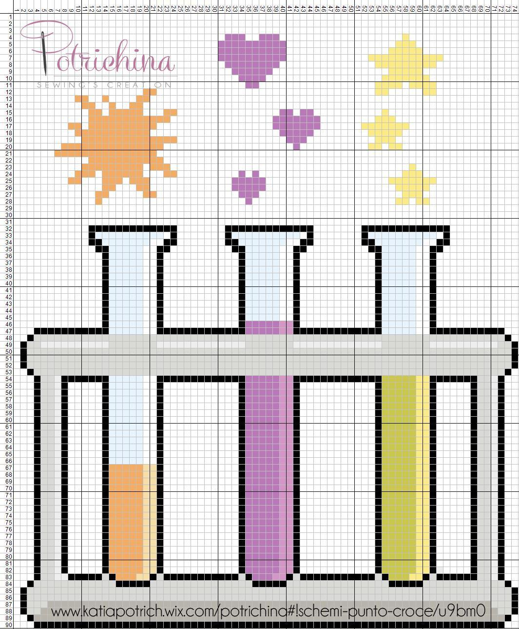 pozioni magiche, esperimenti, provette, esplosioni, magie - schema punto croce