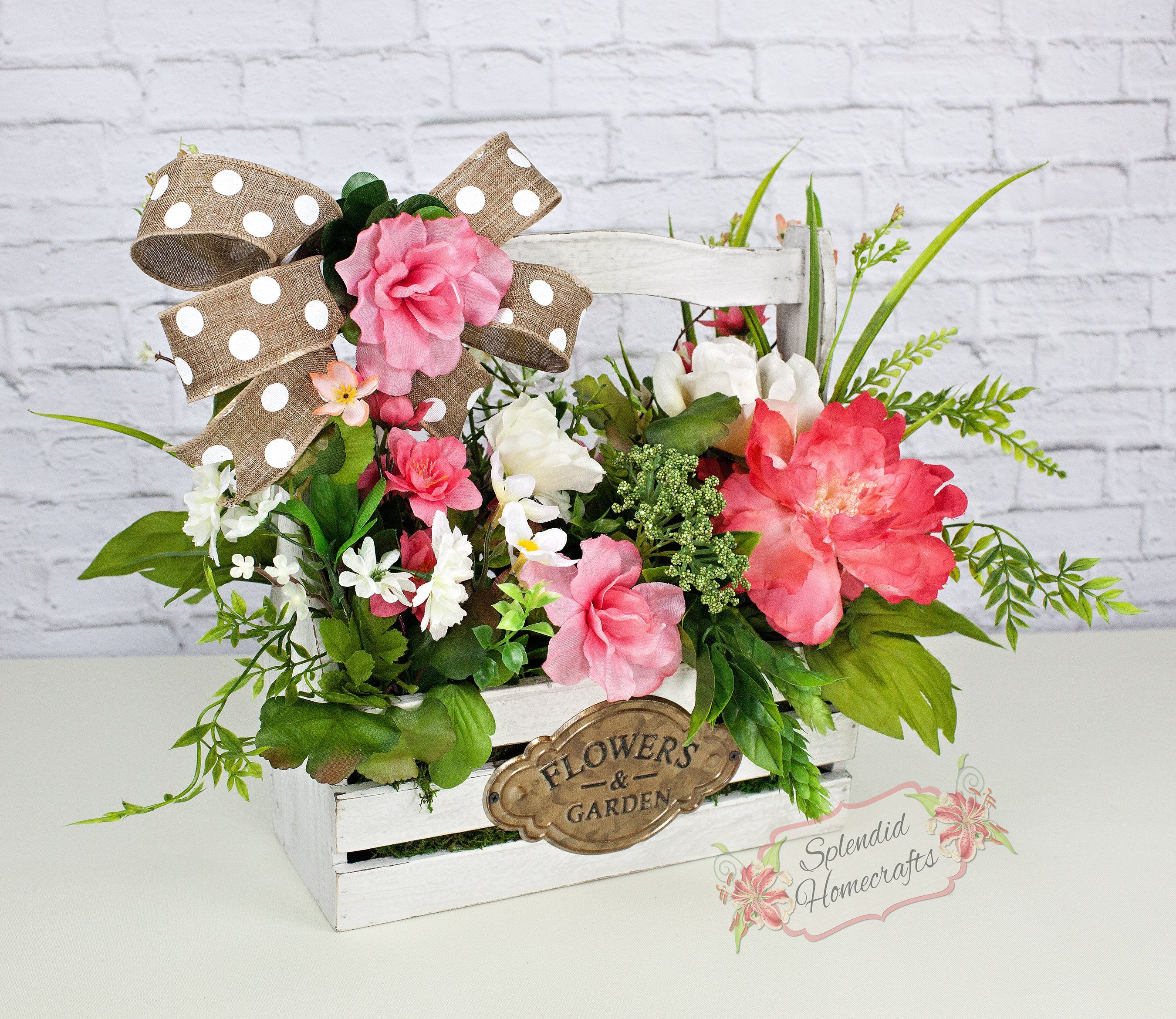 Spring Tool Caddy Mothers Day Arrangement Floral Box Table Decor Centerpiece