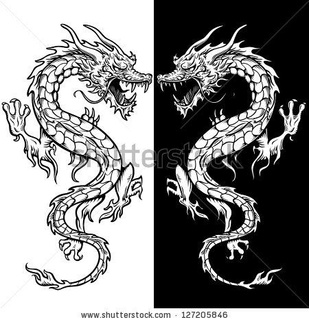 dragon tattoo in black and white. There is 2 dragons for visual ...