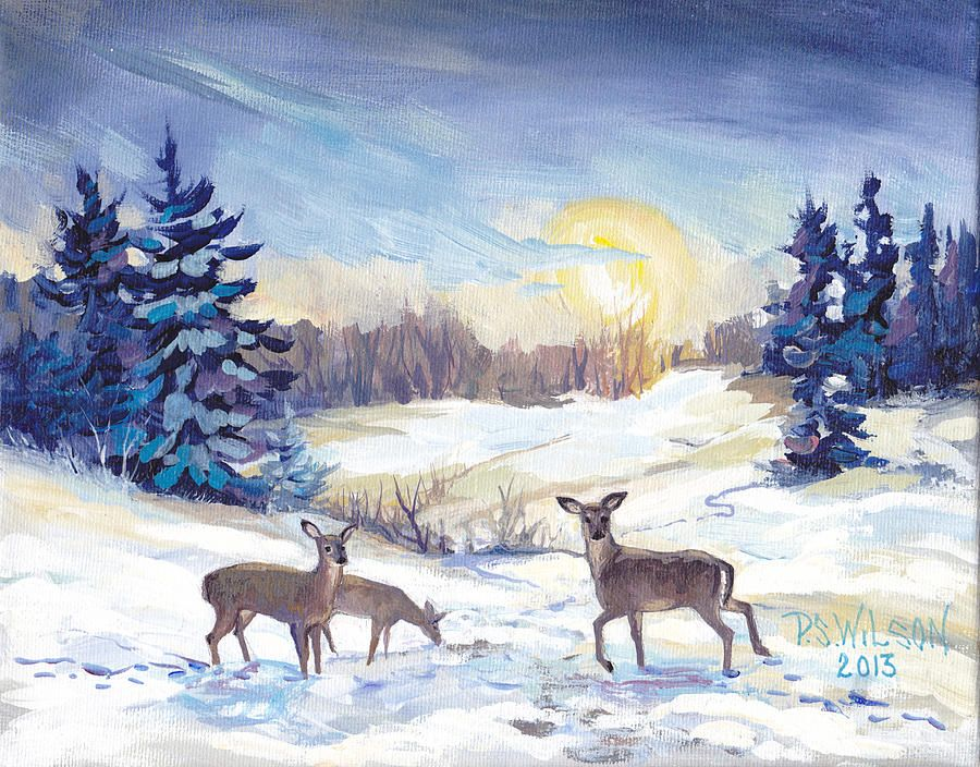 Deer In Winter Landscape Winter Painting Watercolor Deer Small
