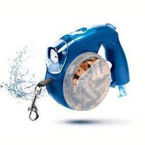 Alles in einer Leine plus Blau. Es ist eine Wasserschüssel, Leckerbissen halten, Baggie Dispens ...