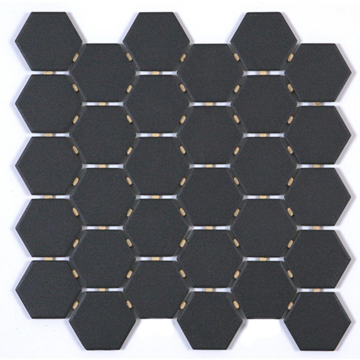 Athens Black Unglazed Hexagon 2 Inch Mosaic Ceramic Floor Tile