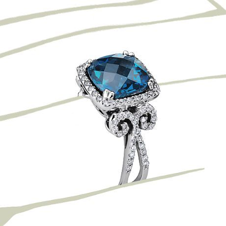 London Blue Topaz and Diamond scroll ring
