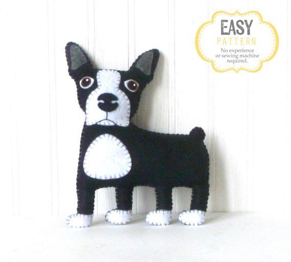 Boston Terrier Sewing Pattern, Felt Dog Hand Sewing Pattern, Sew a ...