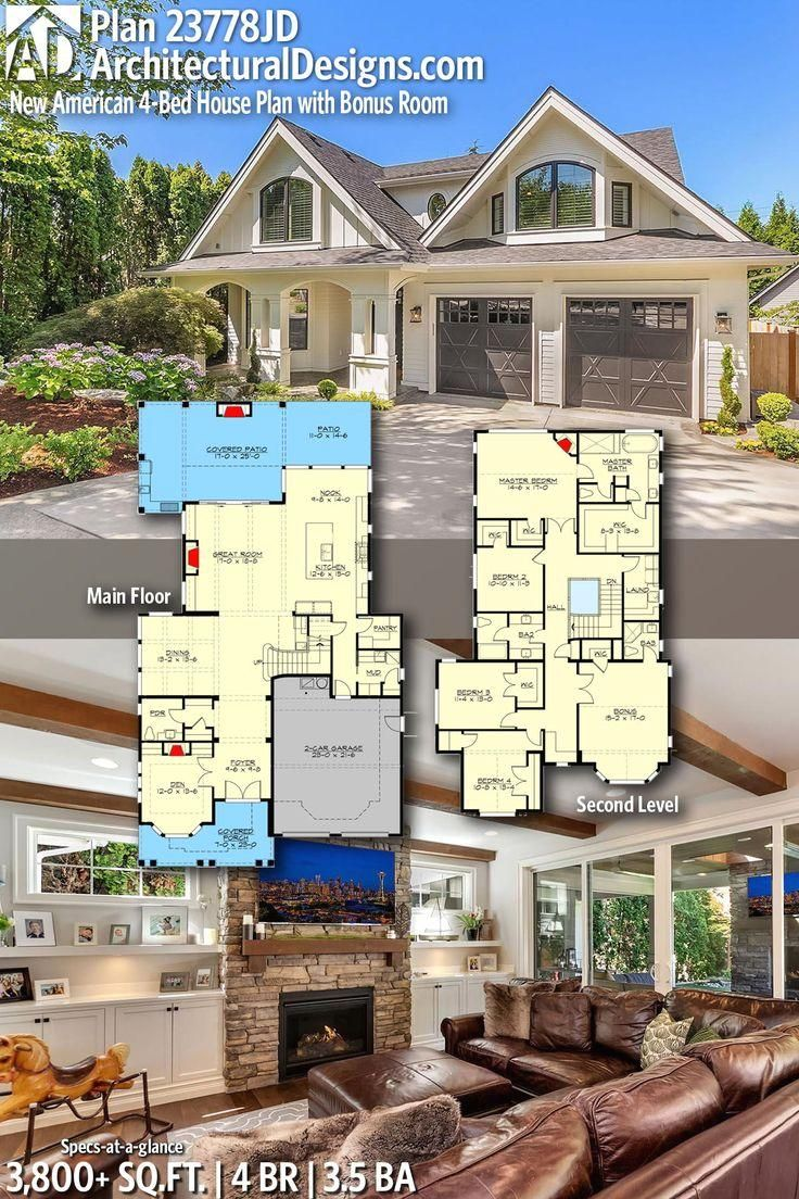#23778JD  #newamerica  #adhouseplans  #architecturaldesigns  #houseplans  #architecture  #newhome  #newconstruction  #newhouse  #farmhouse  #northwest  #homeplans  #architecture  #home  #homesweethome   #Designs #American Architectural Designs New American House Plan 23778JD gives you 4 bedrooms, 3.5 baths and 3,800+ sq. ft. Ready when you are! Where do YOU want to build?