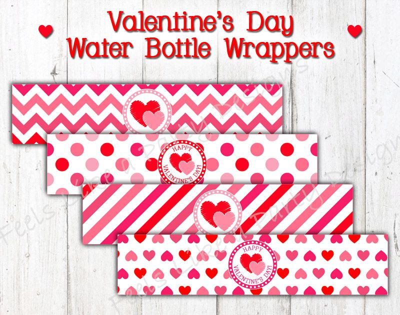 Valentine Water Bottle Labels, Red and Pink Heart Valentine\'s Day ...