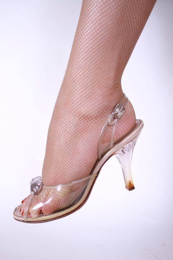 Scarpe Sposa Anni 40.Vintage 1950s Clear Lucite Heel Wedding Shoes Size 5 5b Scarpe