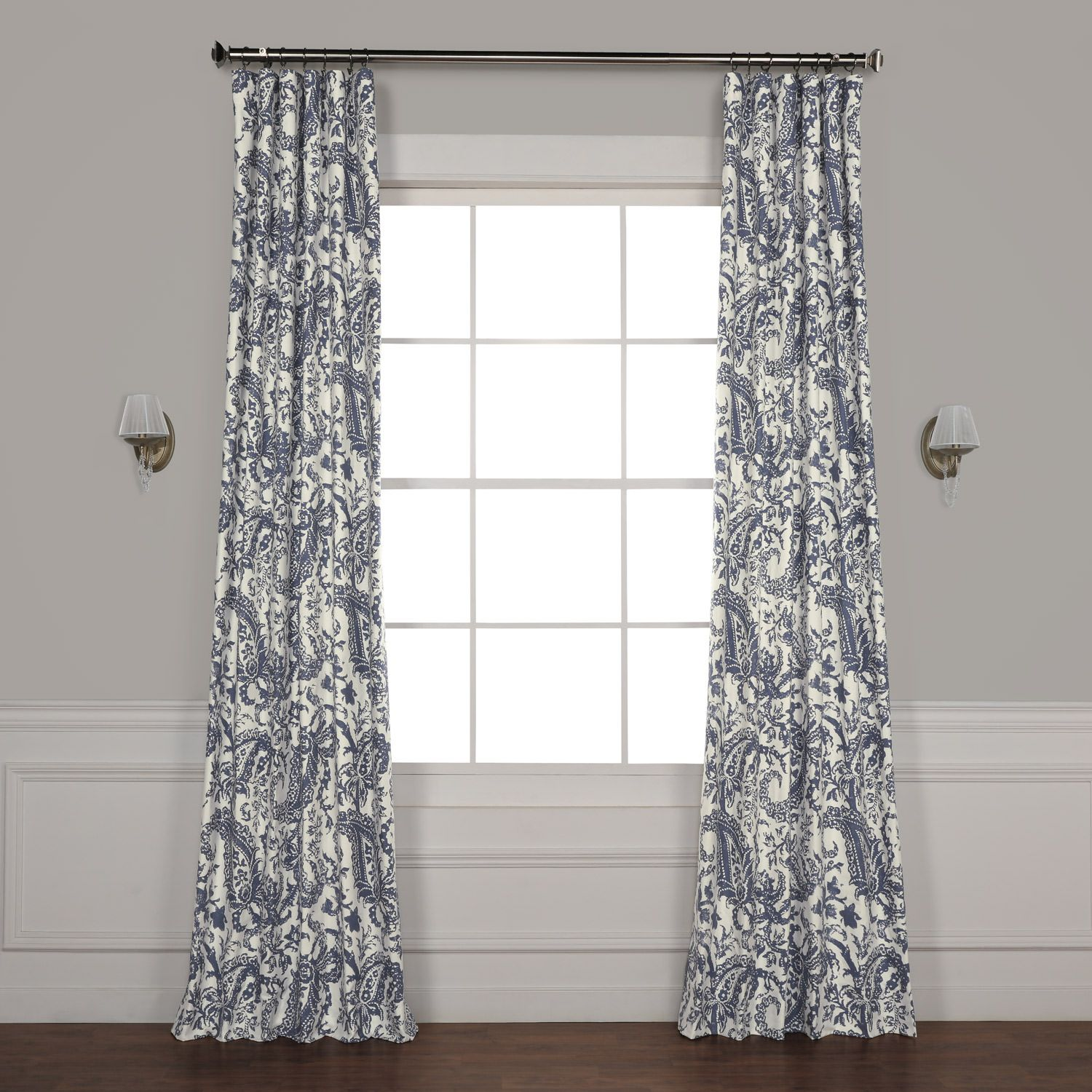 Half Price Drapes Edina Washed Blue 108 In X 50 In Printed Cotton Curtain Panel Prct D09e 108 Bellacor In 2020 Printed Cotton Curtain Half Price Drapes Panel Curtains