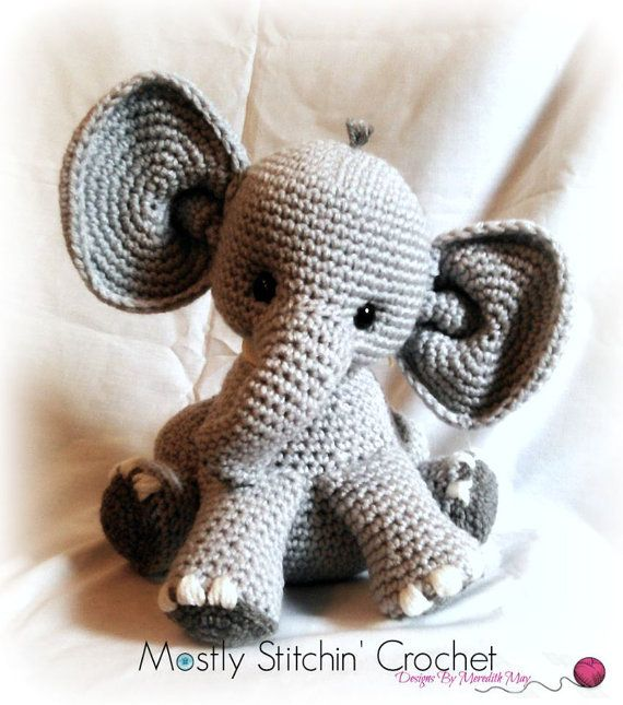 Crochet Pattern For Baby Espadrilles : Percy the baby Elephant; CROCHET PATTERN; PDF Baby elephants