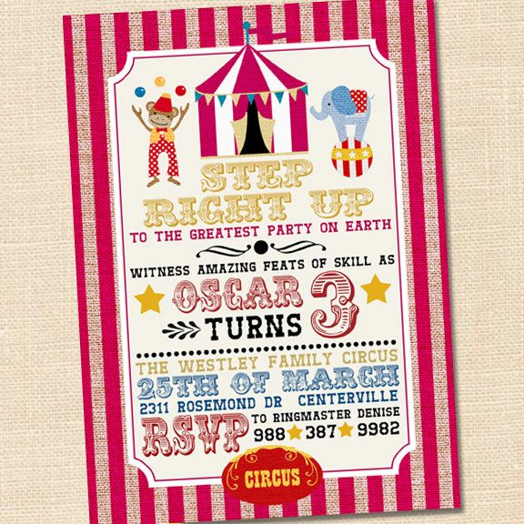 Step Right Up Circus Invitation, Circus Themed Party, Circus First - Circus Party Invitation