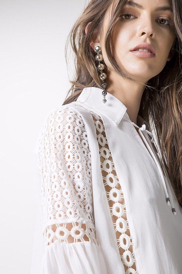 a3ba22dcd BLUSA SEDA MG LONGA ENTREMEIO BOLA Camisas De Renda Branca