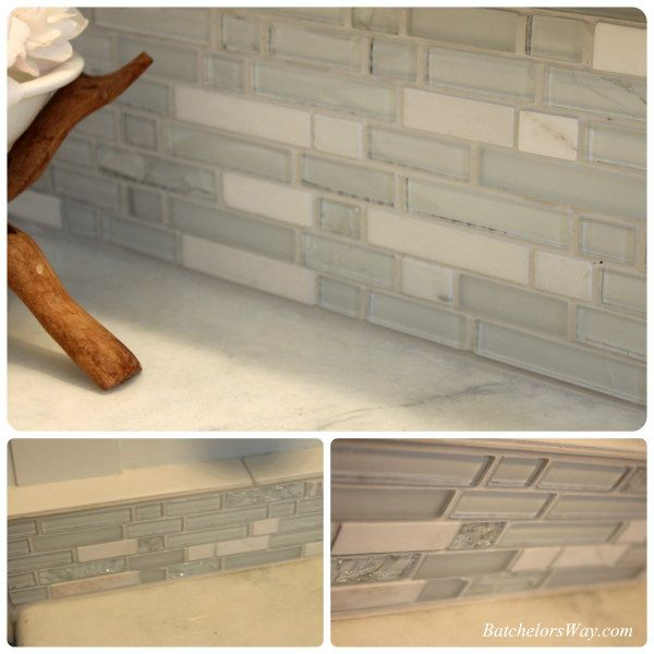 The tiles are Delano Blanco Mosaics from Home Depot and the grout is ...