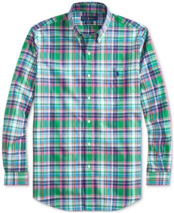 958d6ab45 Polo Ralph Lauren Men s Big   Tall Classic Fit Plaid Cotton Poplin Shirt -  Emerald navy Multi 2XL