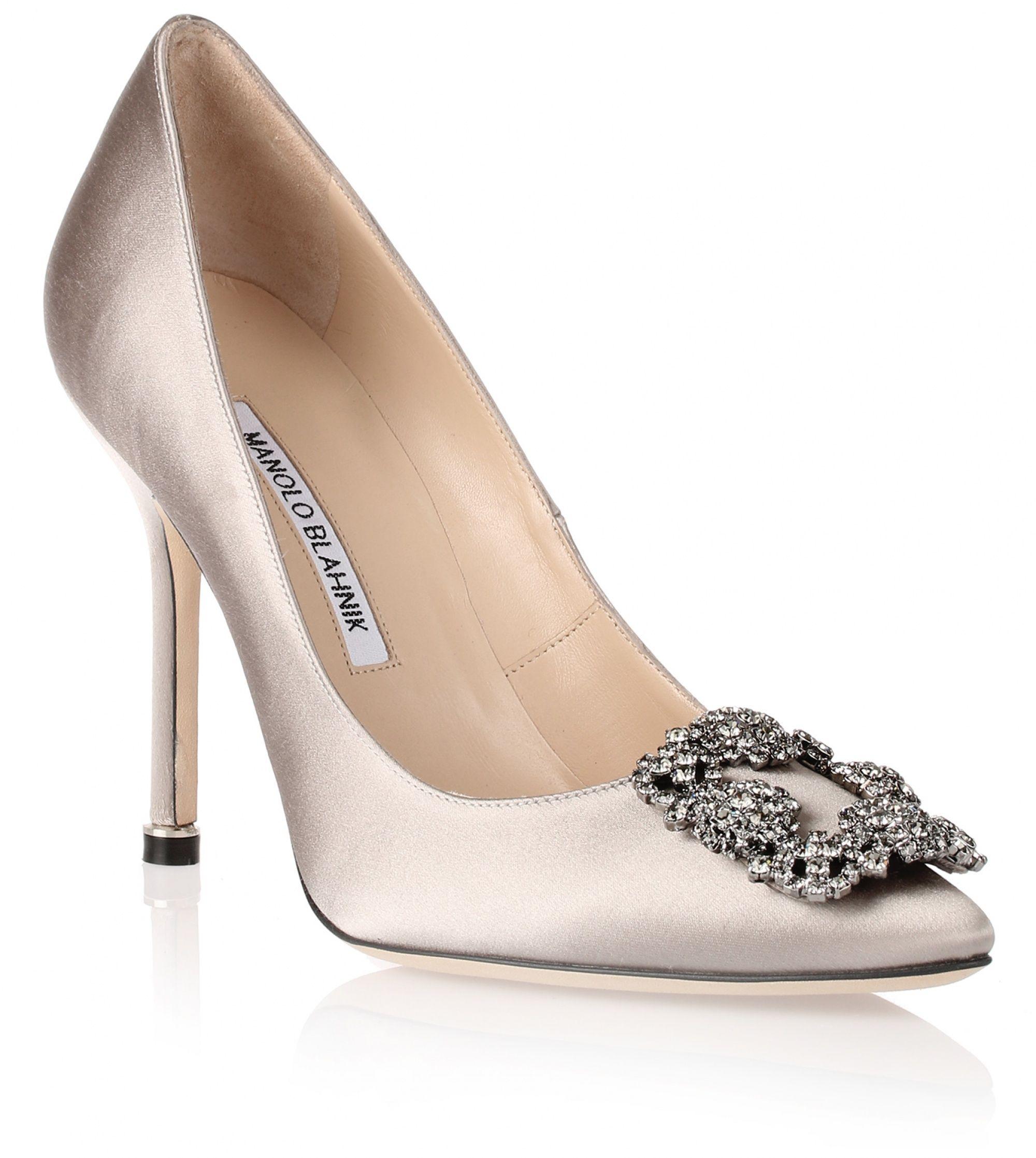 ccf93723c Hangisi 105 silver grey satin pumps | Heels | Manolo blahnik hangisi ...