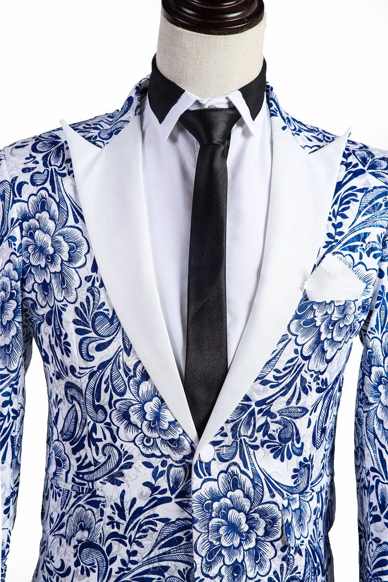Blue/White Floral Pattern Tuxedo Jacket Wedding dress