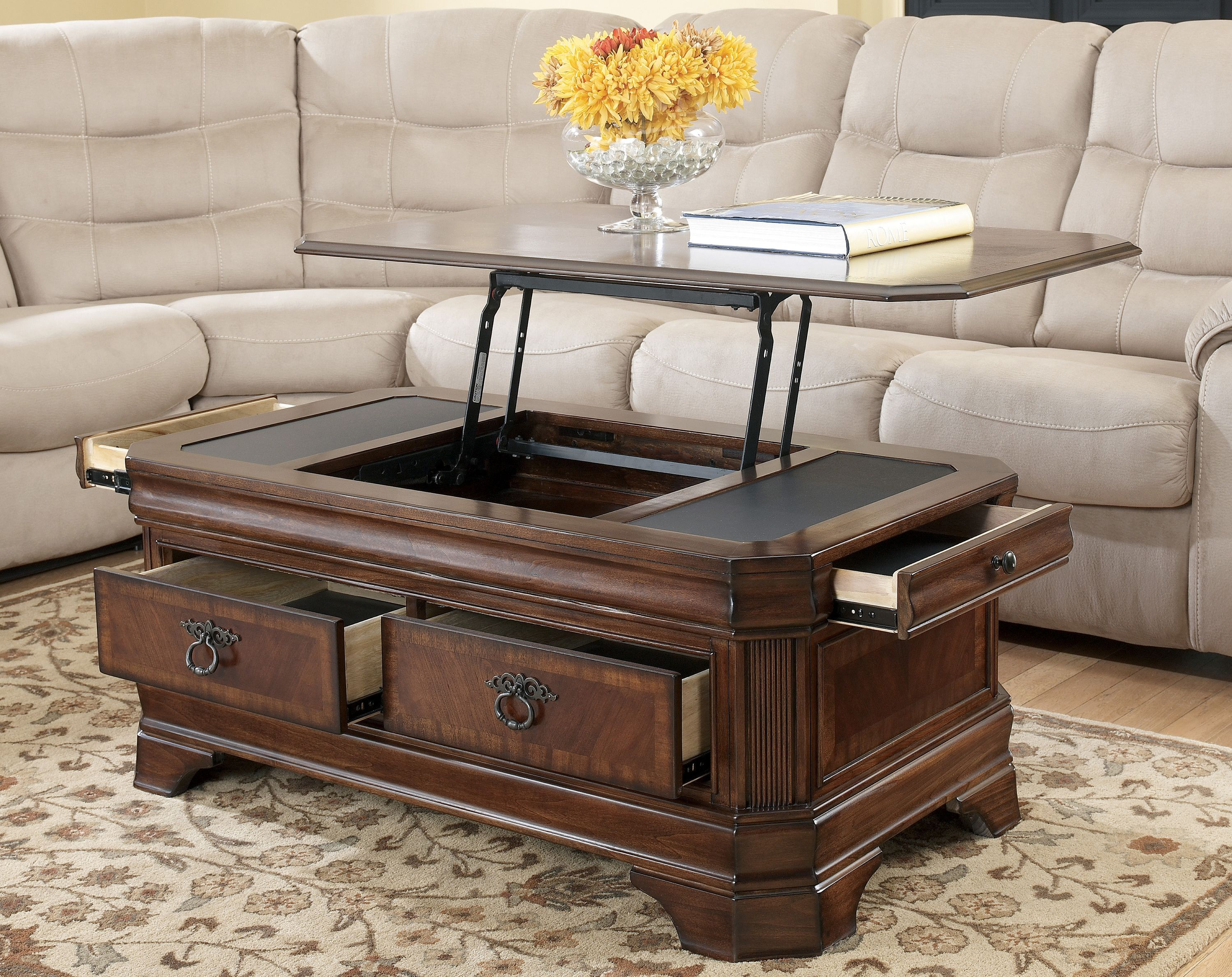 Lift top coffee tables are usually stationary with the rare