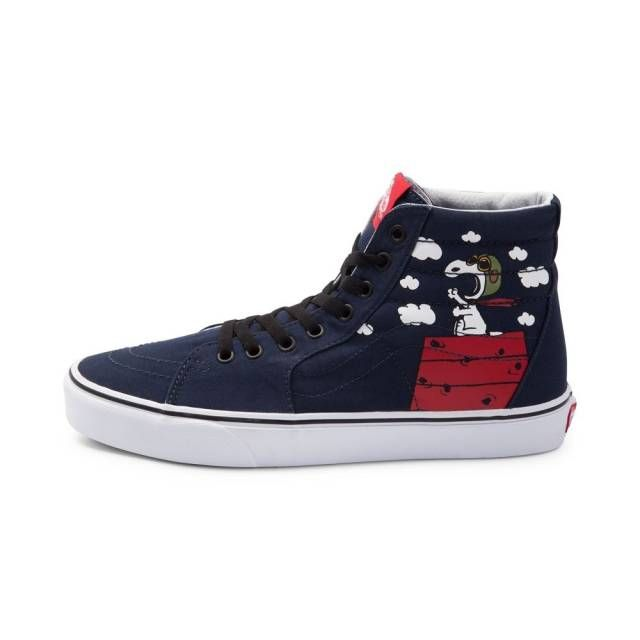 82e0fa0972 NEW Vans X Peanuts Sk8 Hi Flying Ace Snoopy Skate Shoe Navy High Top ...