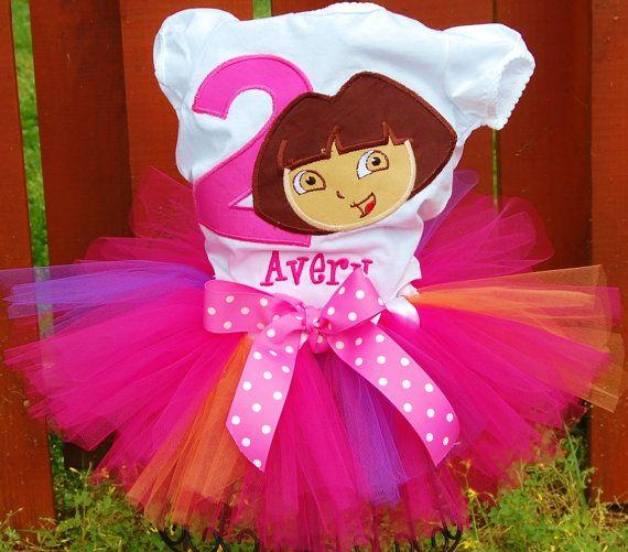 Dora Ballerina Ballet Pink 2nd Second Birthday Shirt Tutu Outfit Set Party
