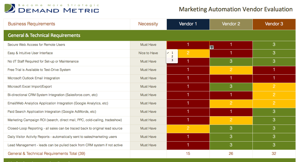 Marketing Automation Vendor Evaluation Matrix Use this matrix to – Vendor Evaluation