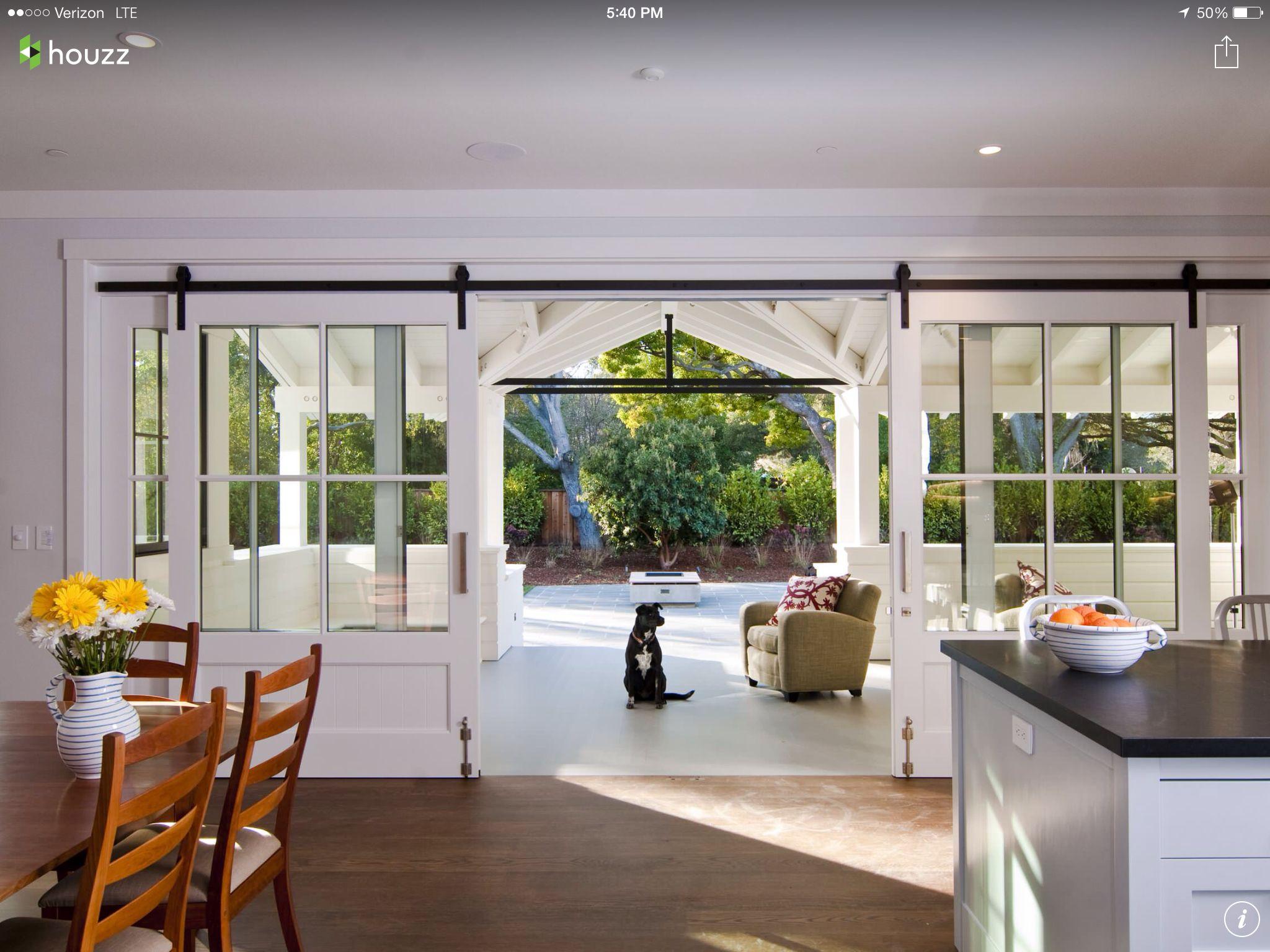 Sliding Door To Courtyard Home Modern Farmhouse Exterior House Design
