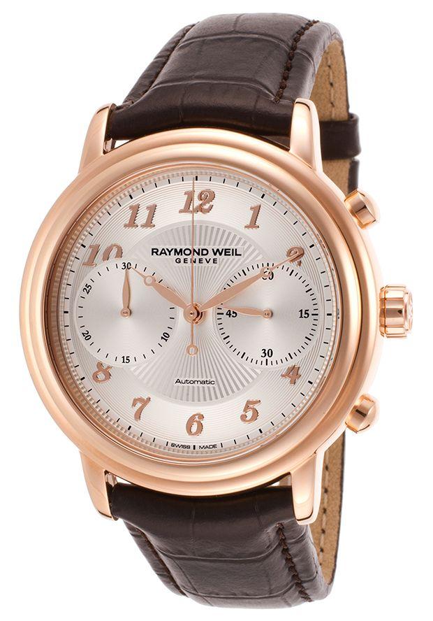Raymond Weil 4830-PC5-05658 Watches,Men's Maestro Auto Chrono Dark Brown Genuine Leather Silver-Tone Dial, Luxury Raymond Weil Automatic Watches