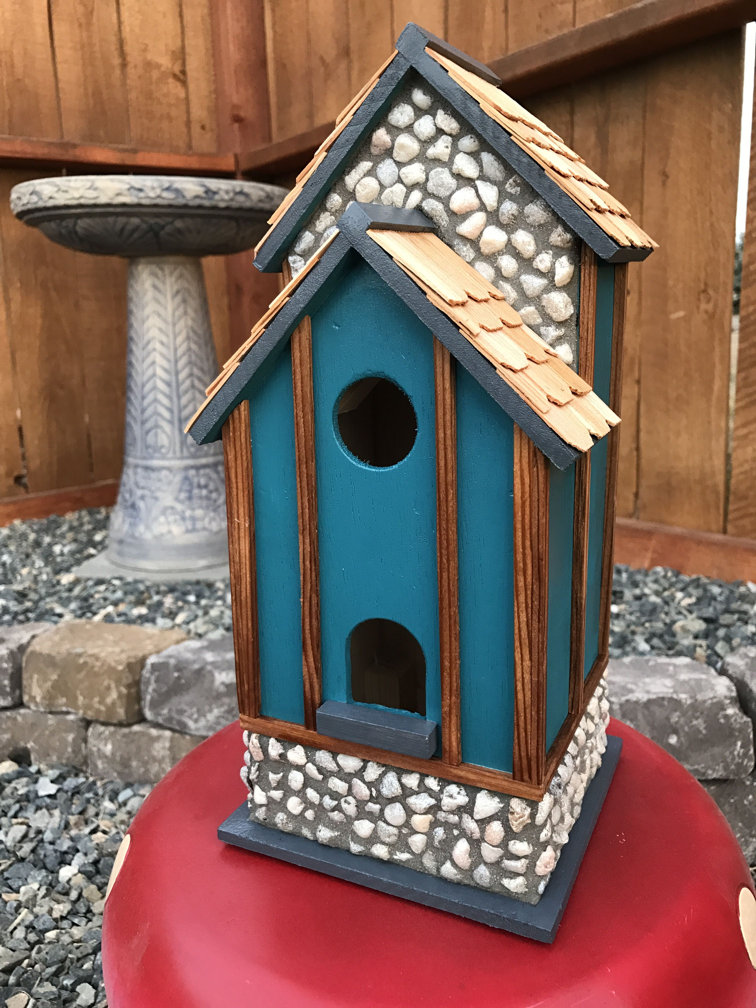 Best Grouted Stone Birdhouse With Cedar Shingles And Trim 400 x 300