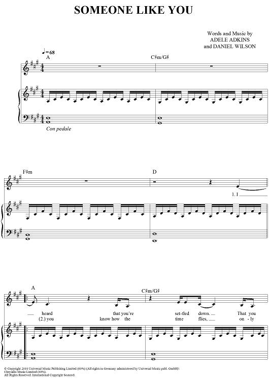 Best Adele Someone Like You Lyrics Chords Piano Image Collection