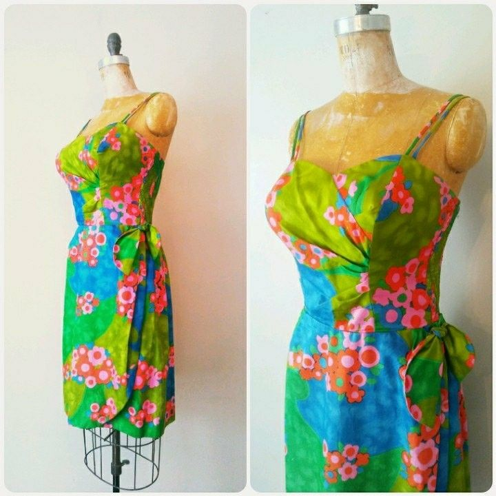 New Arrival! 1950s Hawaiian Sarong Dress in size Medium to Large! Now available at RackedVintage.