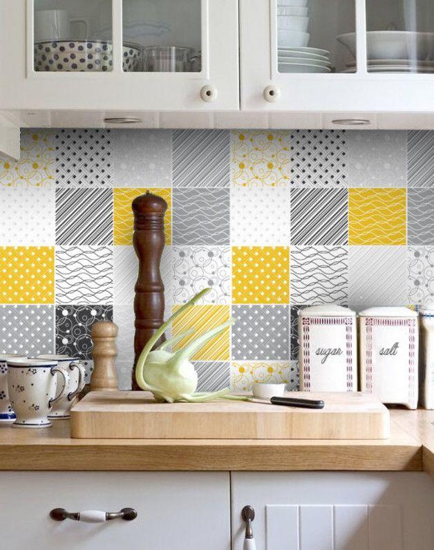 Vinilo para azulejos amarillo y gris 10 x 10 cm decoraci n de vinilo adhesivo y azulejo amarillo - Adhesivo para azulejos ...