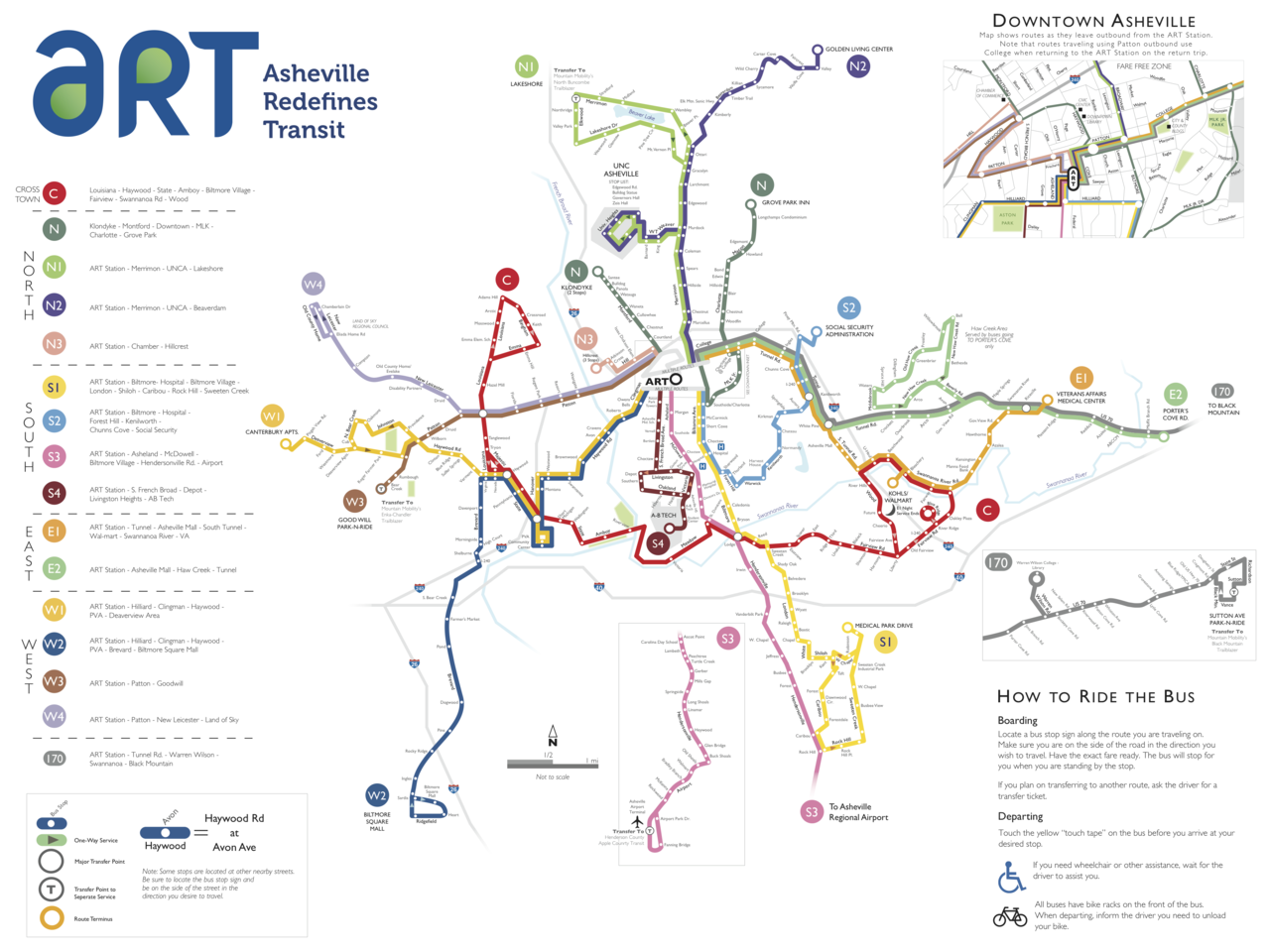 Official Map Art Bus System Asheville North Carolina Transit