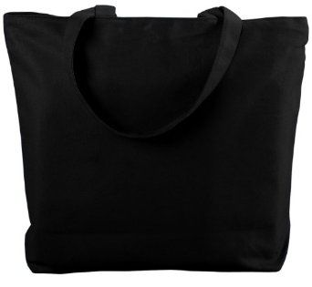 Augusta Sportswear Canvas Zipper Tote, Black, One Size,$14.99