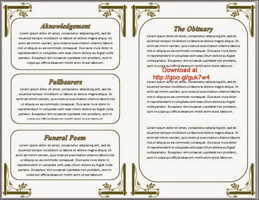 Funeral Programs Order of Service Template in Word to Download - free funeral program templates for word