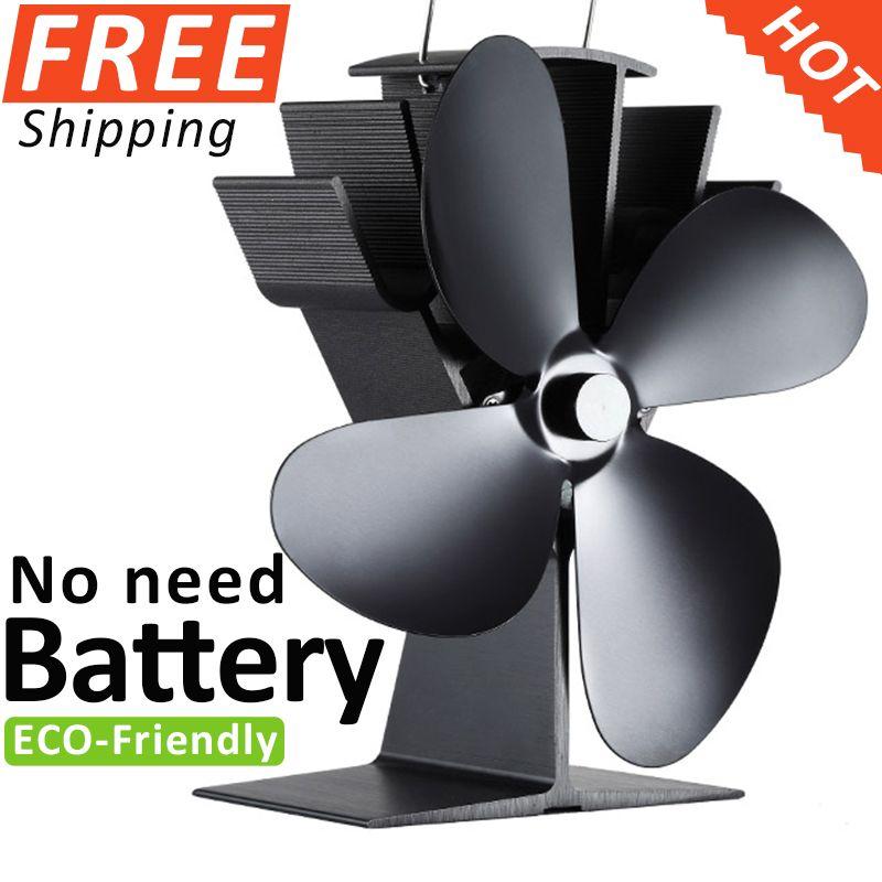 Keine Elektronischen Benötigt Aluminium Wärme Versorgt Herd Fan Kamin Fan Holzofen Fan