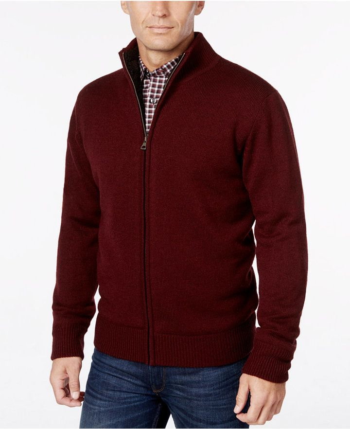 1c09312c6bd Weatherproof Men's Big and Tall Lined Zip-Front Cardigan, Only at ...