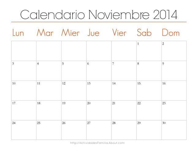 Organiza tu mes con estos lindos calendarios imprimibles: Calendario Noviembre 2014