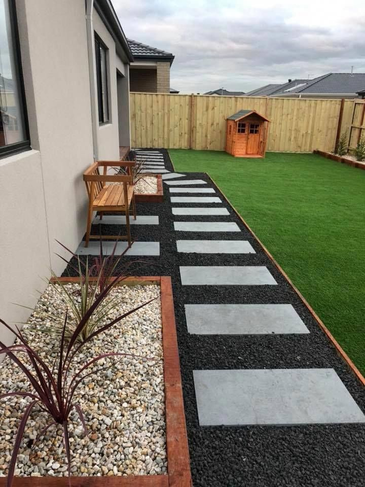 Artificial Grass Stacked Stone Amp Laminate Floors Side Yard Landscaping Backyard Patio Low