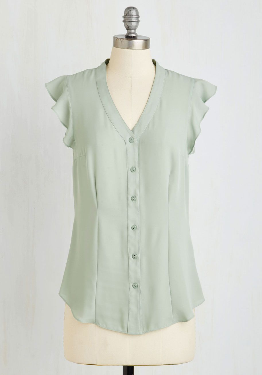 Thread and Flutter Top in Sage. Let this lavish sage blouse - a ModCloth exclusive by Myrtlewood - become an essential part of your wardrobe! #green #modcloth