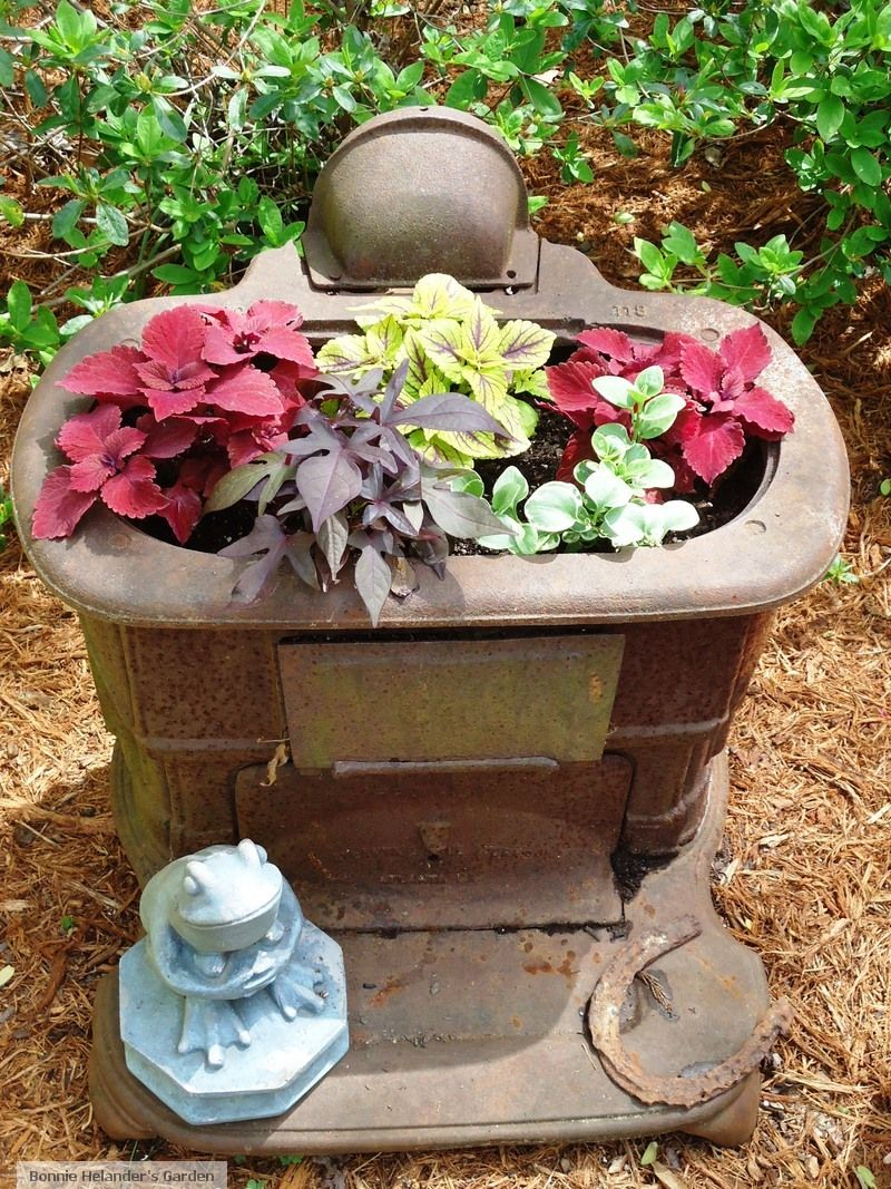 Old Franklin stove as container | Container Gardening | Pinterest ...