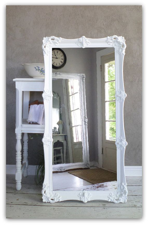 Leaning White Baroque Mirror, Large Shabby Chic Mirror, Vintage ...