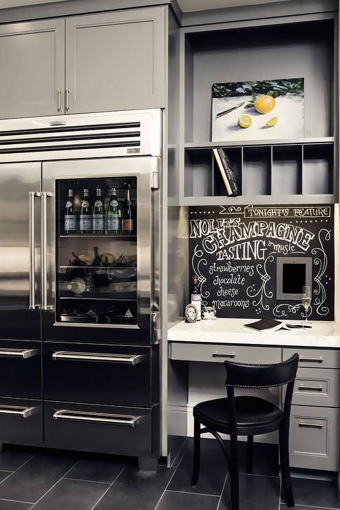 Gray kitchen features a gray builtin desk topped with white