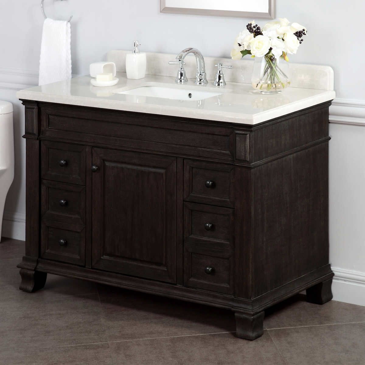 Costco 899 99 Marble Top Not Including Faucet Kingsley 48 Single Sink Vanity With Alpine Mist Countertop