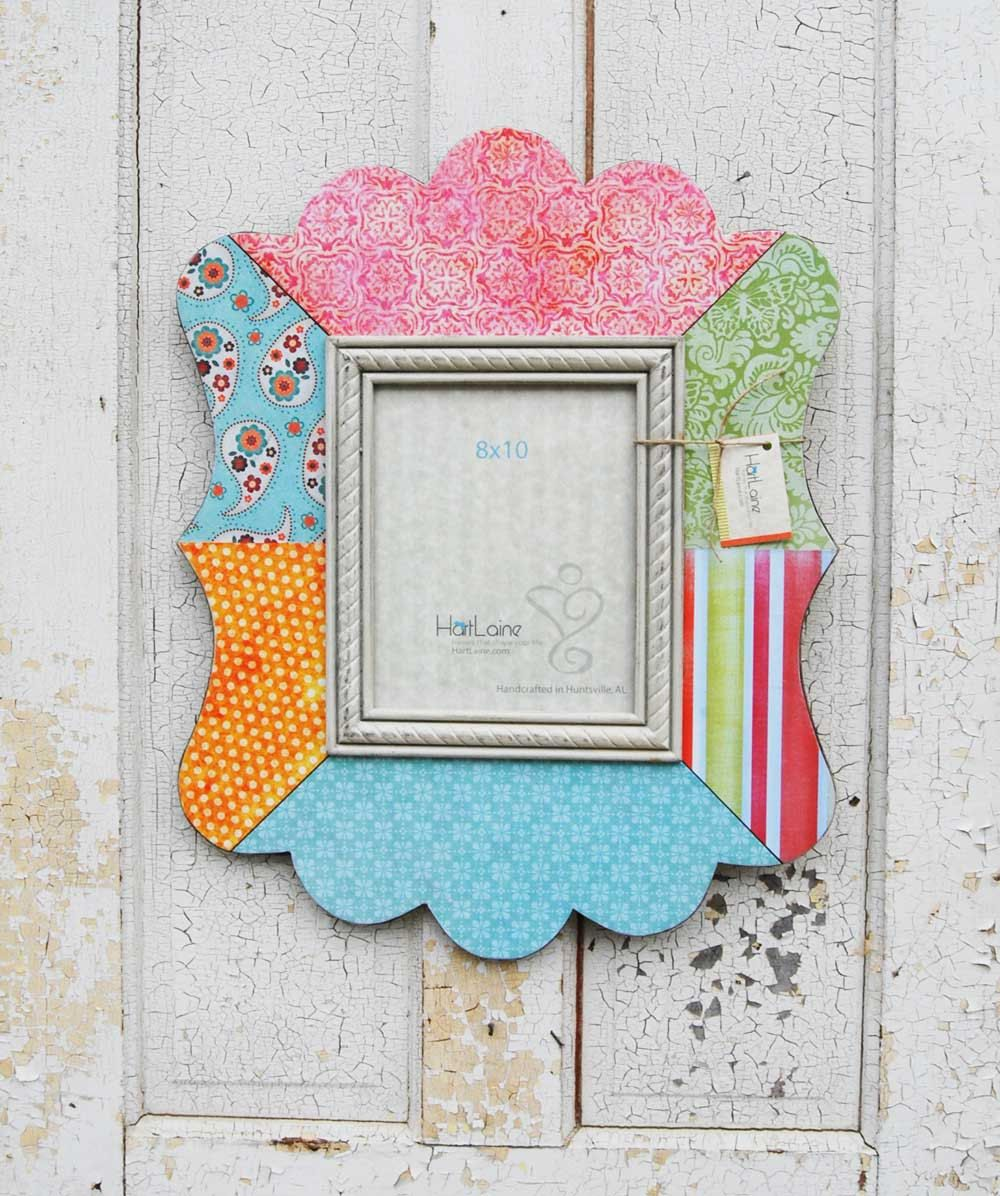 8x10 Decoupage Scalloped Picture Frame - Pinks, Blues, Oranges ...