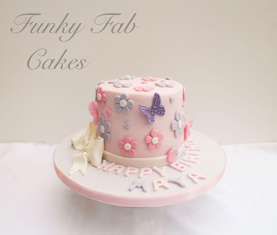 Pink And Purple Flowers Little Girls 1st Birthday Cake