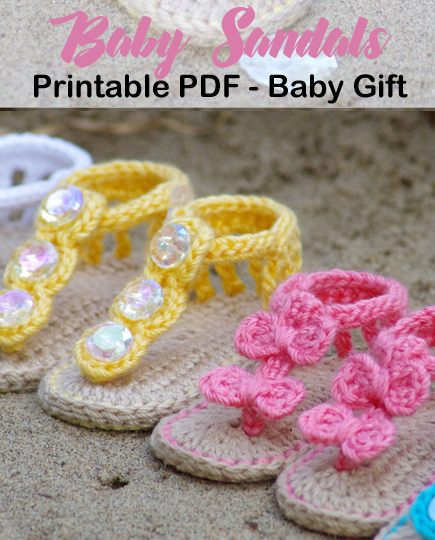 Make a Cute Pair of Baby Sandals  #crochetbabyboots