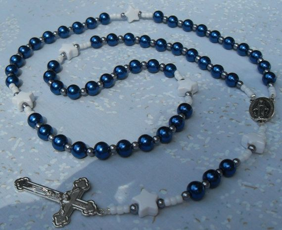 Rosary NEW Design Dallas Cowboys Rosary Blue Czech Glass by kastex