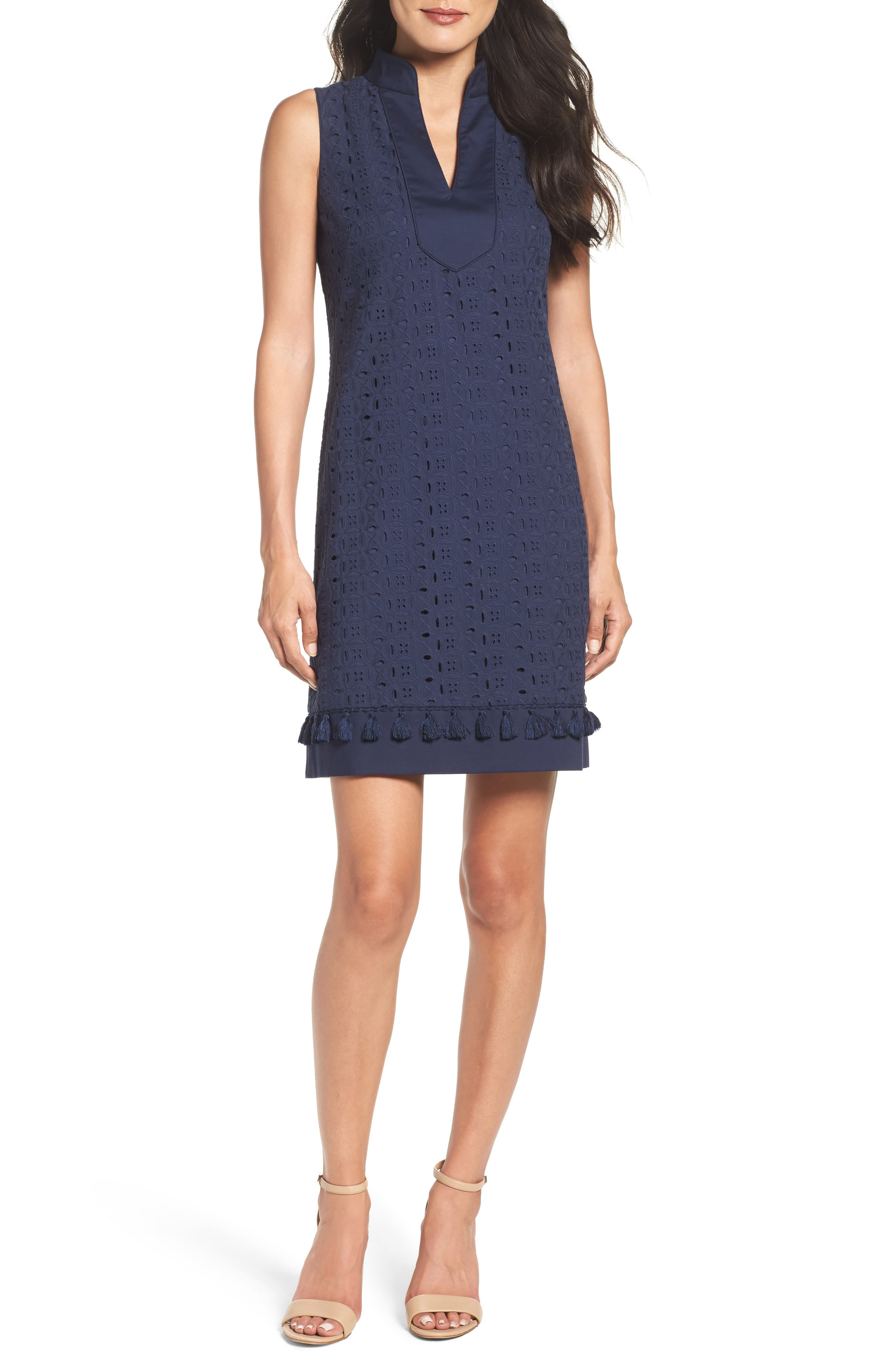 d04abe3141 Women's Eliza J Mandarin Collar Lace Shift Dress, Size 16 - Blue ...