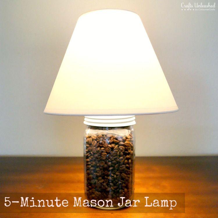 5 Minute Mason Jar Craft Lamp Mason Jar Diy Mason Jar Lighting Mason Jar Crafts Diy